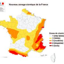 Carte des zones sismiques en France
